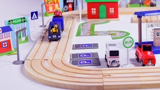 getlinkyoutube.com-blue toy train for children kids - train videos - trains - wooden toy train set - play set for kids