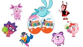 getlinkyoutube.com-Киндер сюрприз Лунтик, Смешарики и другие игрушки Kinder surprise eggs