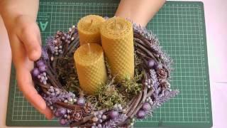 getlinkyoutube.com-Композиция со свечами из вощины