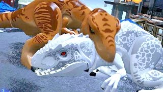 getlinkyoutube.com-LEGO Jurassic World - Indominus Rex VS T-Rex + Ending [Full Battle]