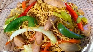 getlinkyoutube.com-How To Make Chicken Chow Mein-Chinese Food Recipes-Stir frying