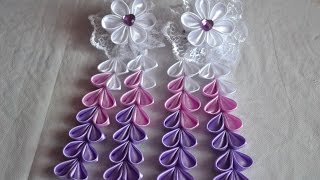 getlinkyoutube.com-Мк сиреневых резинок канзаши|Anna DIY