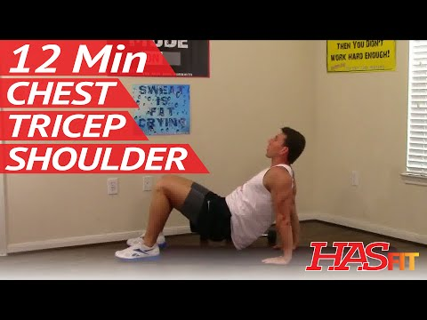12 Min Crushing Chest Shoulders Triceps Workout - HASfit Chest Triceps Exercises - Chest Shoulder