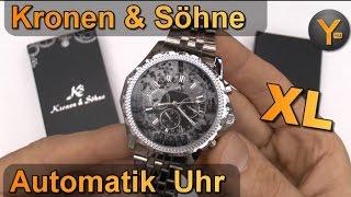 getlinkyoutube.com-Kronen & Söhne Imperial XL Automatik Edelstahl Armbanduhr