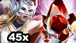 getlinkyoutube.com-Marvel: Contest of Champions - 45x Thor (Jane Foster) Crystals! Compilation
