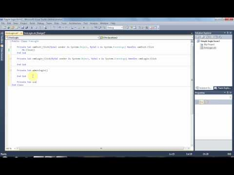 Visual Basic.net Tutorial - Simple login form with admin and user login options