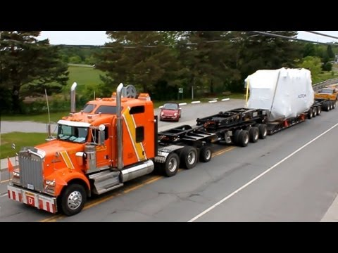 Oversize load truck - Road train in small town Canada - Alstom Transformer