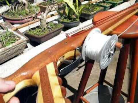 Arbalete artesanal de madeira, caixeta + jequitibá (100 cm)
