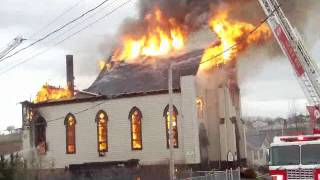 getlinkyoutube.com-Fire at St. Mary's Polish Church in Whitney Pier