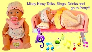 getlinkyoutube.com-Missy Kissy Baby Doll talks, sings, drinks botttle and go to potty like a real baby!