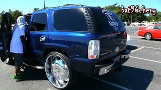 "getlinkyoutube.com-Candy Bowling Ball Blue Chevy Tahoe on 30's, 21"" Subwoofers System - 1080p HD"