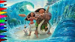 getlinkyoutube.com-MOANA Disney Princess Of The Pacific Coloring Book Pages Kids Coloring Videos Kids Fun Art Brilliant