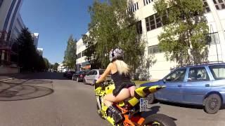 getlinkyoutube.com-Bomber Babe 2014 rides KTM RC8R Bee-DrifteR