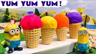 getlinkyoutube.com-Minions Play Doh Peppa Pig Ice Cream Funny Toys Thomas The Train Surprise Eggs Disney Cars