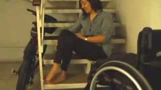 getlinkyoutube.com-Paraplegic Kindred transfers from her wheelchair does the stair challenge
