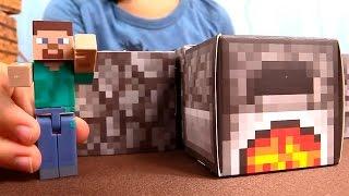 getlinkyoutube.com-Игрушки майнкрафт - minecraft toys - Стив строит печь - обзор игры майнкрафт в реальности