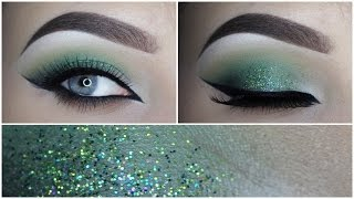 getlinkyoutube.com-Green glitter eye makeup tutorial - MAKEUPBYAN