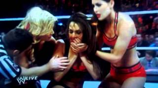 Nikki Bella gets kicked in face by Tamina and AJ