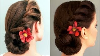 getlinkyoutube.com-Rope-Braided Side Bun