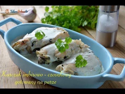 Kurczak imbirowo-czosnkowy gotowany na parze
