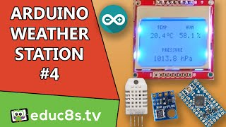 getlinkyoutube.com-Arduino Project: Weather Station #4 using DHT22, BMP180 sensors and NOKIA 5110 LCD Arduino pro mini