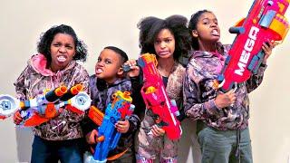 getlinkyoutube.com-Nerf War Battle ATTACKS - Shasha And Shiloh EPIC Nerf Mega Mastodon - Onyx Kids