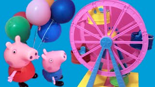 getlinkyoutube.com-Peppa Pig English Toys Episode - Peppa Pig New 2015 Funfair Toys Video - Daddy Pig Gets Stuck!