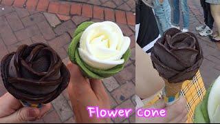 getlinkyoutube.com-Handmade Flower icecream Cones in Seoul With Sharla