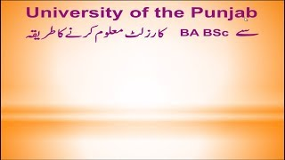 University of the Punjab say BA BSC k result maloom krnay k tariqa
