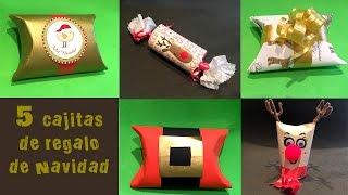 getlinkyoutube.com-5 Cajitas de regalo de navidad con tubos de papel higienico