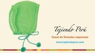 getlinkyoutube.com-Cómo tejer un gorro tipo capucha con bordes decorados en dos agujas o palitos para bebes
