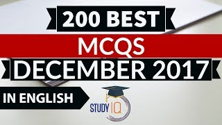 (English) 200 Best current affairs MCQ from December 2017  IBPS PO/SSC CGL/UPSC/PCS/KVS/IAS/RBI 2018