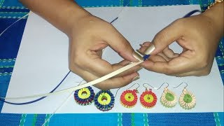getlinkyoutube.com-2. How to make Paper Weaving Earrings in 2 colors