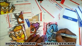 getlinkyoutube.com-How to draw graffiti  characters on Usps Stickers Labels
