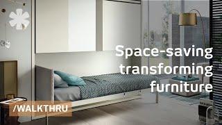 getlinkyoutube.com-Space saving furniture that transforms 1 room into 2 or 3
