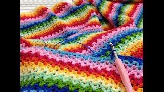 getlinkyoutube.com-v طريقة عمل بطانية بغرزة Blanket Crochet -Crochet V Stitch