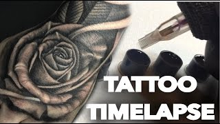 TATTOO TIME LAPSE   REALISTIC ROSE ON HAND AND SKULL ON FOREARM   CHRISSY LEE