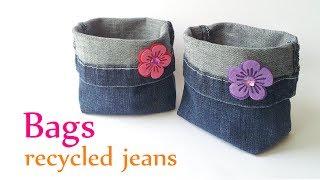 getlinkyoutube.com-DIY crafts: BAGS recycled jeans (very EASY) -  Innova Crafts
