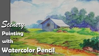 getlinkyoutube.com-How to Paint A Scenery with Watercolor Pencil | Step by step | Episode-2