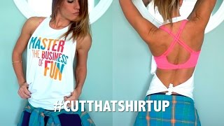 getlinkyoutube.com-DIY: How to Cut a Basic Halter Top (Closed Front/Open Back) - #CutThatShirtUp with Carolina B