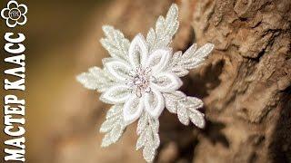 getlinkyoutube.com-DIY:  Snowflake Kanzashi / Снежинка на шпильке (Уроки Канзаши)