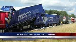 getlinkyoutube.com-30.07.2013 (AN) Lkw-Fahrer stirbt in Trümmerberg auf der A6 bei Lichtenau