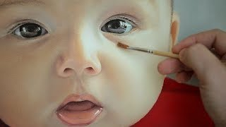 getlinkyoutube.com-Photorealistic Portrait Painting  - oil painting of baby face by Janusz Migasiuk