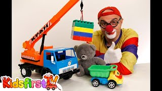 getlinkyoutube.com-Car Clown - Videos for Kids - Toy LEGO CRANE Truck & Teddy Bear (Toy Trucks)