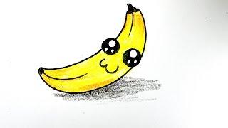 How to draw a banana. 손그림 바나나 그리기, 귀여운 바나나 그리기, cute banana.