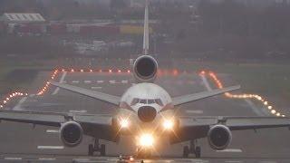 getlinkyoutube.com-Biman Bangladesh DC-10-30 S2-ACR Crosswind Landing at Birmingham Airport (BHX-EGBB) with ATC