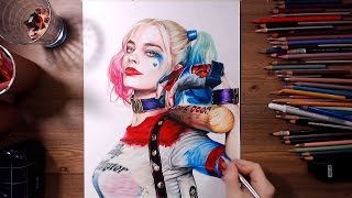 getlinkyoutube.com-Suicide Squad : Harley Quinn (Margot Robbie) - Speed drawing