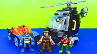 getlinkyoutube.com-Imaginext Magician Tries to take Batman Robin cape Batcopter Batmobile Batcave toys stories