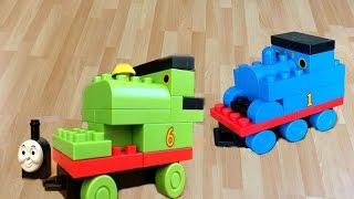 getlinkyoutube.com-Thomas and Friends Toy Trains Percy Lego Like Play set Thomas y sus Amigos