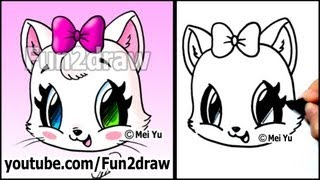 getlinkyoutube.com-Cute Cat - How to Draw a Cat Face - Kitten with Bow EASY